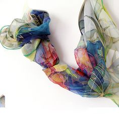 Silk scarf hand painted on chiffon silks - hand dyed scarves - wearable art painted 18x72. $75.00, via Etsy.