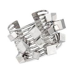 """Ross-Simons - Sterling Silver Wide Geometric Multi-Row Cuff Bracelet. 7"""" - #819099"""