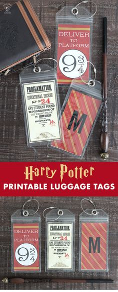 Best Ideas DIY and Crafts Inspiration : Illustration Description Free printable Harry Potter luggage tags. So cute and fun for a Harry Potter party or as a gift idea or party favor. Harry Potter Halloween, Party Harry Potter, Harry Potter Thema, Cumpleaños Harry Potter, Harry Potter Cosplay, Harry Potter Birthday, Harry Potter Characters, Harry Potter Bookmark, Harry Potter Products