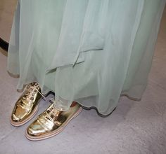 Expert Indiscretion: Gold Oxfords at Rodarte: Eva Chen Looks Style, My Style, Retro Style, Catwalk Design, Golden Shoes, Oxford Shoes Outfit, Couture, Ladies Dress Design, Shoe Collection