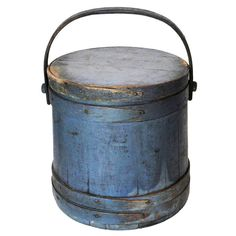 Fantastic 19thc Signed Original Blue Painted Firkin From Maine  (now I'm curious to find out what a firkin is)