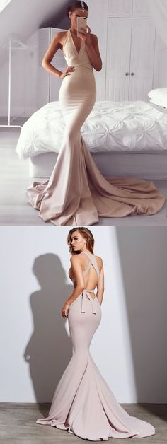 Dark Champagne Mermaid Prom Dress, V Neck Satin Formal Gown With Open Back