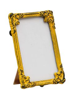 Bulk Wholesale Handmade Bright Yellow Rectangular Photo Frame / Stand in Metal Work with Distressed-Look – Beautiful Carvings on the Edges – Table / Wall Décor – Rustic-Look Home / Office Décor