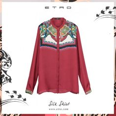 Eastern prints: silk shirt. #etro #red #paisley