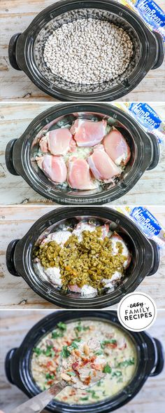 FAMILY FAVORITE! This Bacon Ranch White Chicken Chili is bursting with flavor! It is loaded with tender chicken, flavorful Hurst Hambeens great northern beans, tangy green chilis, ranch seasoning, and lots of crispy crumbled bacon. This white chicken chili is one that kids and adults can agree on- Filling AND Delicious! Made in the slow cooker, it couldn't be easier! This is the perfect easy dinner idea to feed a hungry crew! AD Best Crockpot Recipes, Fun Easy Recipes, Grilling Recipes, Slow Cooker Recipes, Real Food Recipes, Soup Recipes, Chicken Recipes, Dinner Recipes, Healthy Recipes
