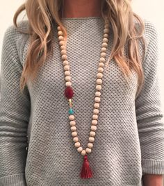 Burnt Orange and Teal Tassel Necklace by jordankayetaylor on Etsy
