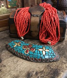 NEW Vintage Fashion Elegant Long Red Turquoise Tibet Silver Pendant Necklace