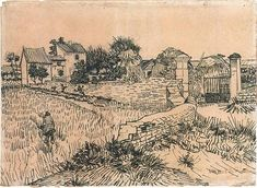 Entrance Gate to a Farm with Haystacks. Pencil, reed pen, brown ink  39.0 x 53.3 cm.  Arles: c. 15 June 1888
