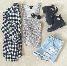 Outfit Maybe with a bright striped shirt or lighter colored boots