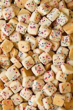 Funfetti Shortbread Bites (Only 5 Ingredients!) - Cooking Classy - - Funfetti Shortbread Bites (Only 5 Ingredients! Köstliche Desserts, Holiday Baking, Christmas Desserts, Christmas Baking, Delicious Desserts, Dessert Recipes, Christmas Treats For Gifts, Delicious Cookies, Dessert Party