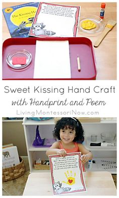 This sweet Kissing Hand craft uses a free poem and child's handprint to help ease separation anxiety for preschoolers and kindergarteners.