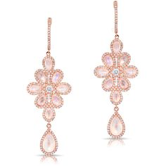 Anne Sisteron  14KT Rose Gold Moonstone Diamond Blossom Chandelier... ($3,920) ❤ liked on Polyvore featuring jewelry, earrings, rose, rose earrings, moonstone earrings, rose gold dangle earrings, diamond jewelry and pink gold earrings