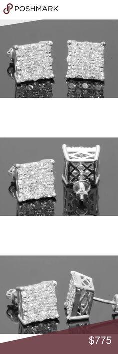 1.50 carat 10k white gold diamond earrings 1.50 carat 10k white gold diamond earrings. 8mm in size! Secure screw backs! Lower on pal! Jewelry Earrings