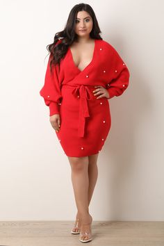 Plus Size Pearl Accented Surplice Sweater Knit Dress Plus Size Mini Dresses, Plus Size Outfits, Sweater Dress Outfit, Knit Dress, Plus Size Fashion For Women, Plus Fashion, Plus Size Summer Outfit, Plus Size Girls, Curvy Girl Fashion