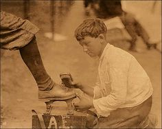 Lewis Hine Shoeshine Boy Newark New Jersey Lewis Hine photograph of ten year-old Charlie working as a shoe shiner in Newark, NJ. Lewis Wickes Hine was noted for capturing images of child labor in the early 1900's.
