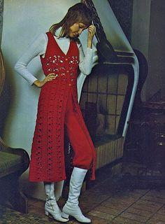 Items similar to Pure Drama GoGo Hippie Boho Crochet Surcoat Knitted Knickers Pattern PDF 7209 on Etsy Seventies Fashion, 70s Fashion, Fashion History, High Fashion, Vintage Fashion, 70s Outfits, Vintage Outfits, Boho Crochet, Crochet Hooks
