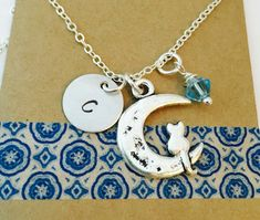 Cat On A Moon Charm Necklace with Initial and Crystal. Personalized Cat Necklace, Personalized Initial Necklace, Cat lover Necklace,