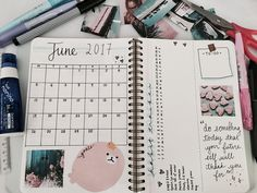 Welcome to my first Pinterest post, I suppose? A month in on bullet journaling, and I'm in love with it! As you can see, my bullet journal is already ready for June! I started early because I'm going to be busy end of the month! My monthly layout is pretty simple, and my theme for this month is blue and pink! Let me know if this inspires you! : )