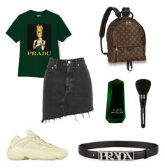 """""""Untitled #48"""" by fashionandtrend on Polyvore featuring AGOLDE, Thierry Mugler, Tweezerman, Prada and denimskirts"""