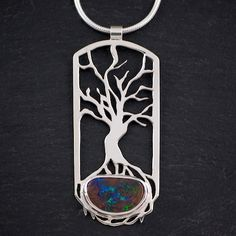 sterling tree of life boulder opal pendant by opalwing