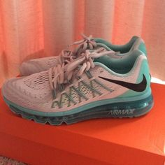 New Nike Air Max Sneakers in Teal & Gray New Nike Air Max Sneakers in Teal & Gray  Size 8.5 (US Women's) Brand new with box Never been used  Purchased at NIKE for $190 + tax SoLD OUT Color Nike Shoes Sneakers