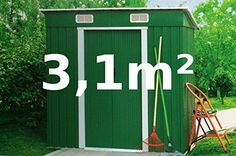 Garden house tool shed 3.1sqm of galvanized steel sheet metal green