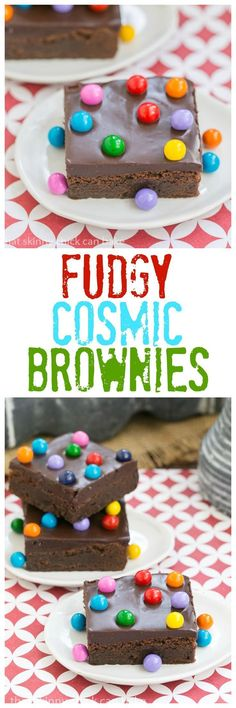 Cosmic Brownies | Fudgy brownies topped with ganache and chocolate filled candies! #brownies #chocolate #frosted