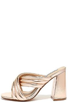 df00a8f23ae8 Cape Robin Quilted Crisscross Chunky Mule Heel Rose Gold 75 Rose Gold    Click image to