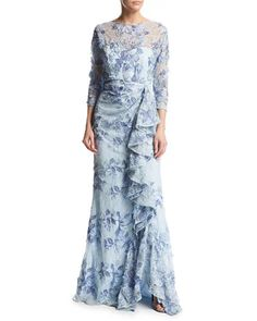 7d44228b22c 3 4-Sleeve Embroidered Floral Lace Gown Light Blue