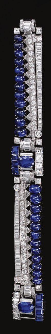 SAPPHIRE AND DIAMOND BRACELET, CIRCA 1950