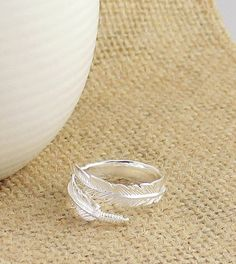 Adjustable Feather Ring in Sterling Silver
