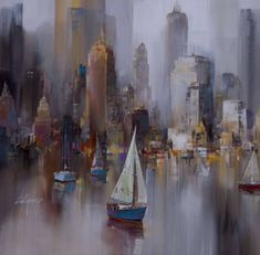 Awesome painting by Chinese artist Wilfred Lang City Painting, Painting & Drawing, Skyline Painting, Beautiful Paintings, Art Oil, Painting Inspiration, Art Pictures, Amazing Art, Watercolor Paintings