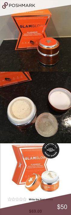 GLAMGLOW FLASHMUD BRIGHTENING TREATMENT 1.7oz full Full size next to new , used once with a scoop. I'm super particular W/ my beauty items as I work in the industry. I hardly sell used items as I don't trust how people keep products free from contamination.All beauty items should always be used W/ a clean scoop so your items don't contaminate even if it's only U using them.I have so many Beauty items that I can't possibly use them all.picture shows with the foil removed and container full…