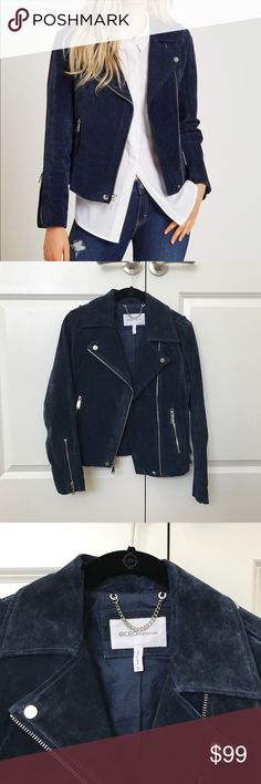 BCBGeneration Suede Moto Jacket Gorgeous suede deep blue moto jacket! NEVER WORN! In perfect condition. 100% Suede. Adjustable buckles. BCBGeneration Jackets & Coats