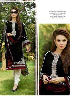 Black Cotton Unstitched Salwar Suit - Rs. 1400.00