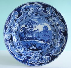 Rare Staffordshire Pearlware ~ ZEBRA ~ Dark Blue E.Wood Transferware Plate c1830