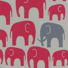 Red Elephant on Grey Fabric by 3GrandsBoutique on Etsy