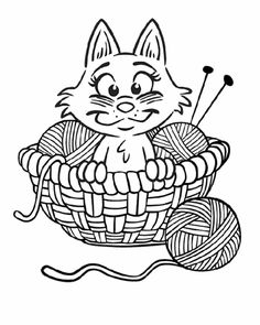 Ball of Yarn Coloring Page Wee Folk Art