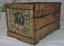 Vintage Eatmor Cranberries Wood Crate~Original Label~Cape Cod Mass 17 x 11