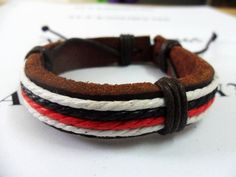Real Leather and Cotton Ropes Cuff Bracelet 206S by accessory365, $3.50