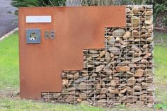 small recycled gabion bricks with house number