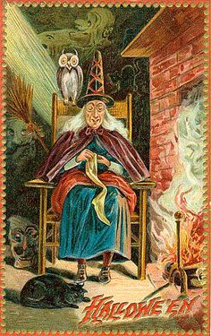 Classic Witch Vintage Halloween Postcard