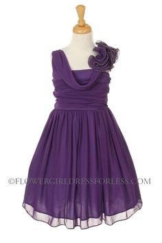 CC_1104PUR - Girls Dress Style 1104- PURPLE Chiffon Dress with One Shoulder Floral Detailing - Purple - Flower Girl Dress For Less