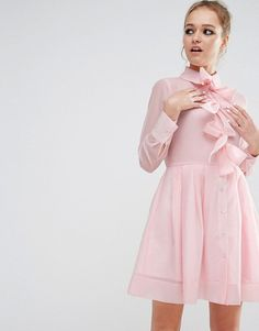 Sister Jane Bow Front Shirt Dress by Sister Jane. Dress by sister jane, Lightweight crepe, Point collar, Front bow detail, Button placket, Regular fit - true to size, ...