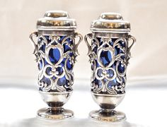 1940's Salt and Pepper Shakers Silver and Cobalt Glass Insert Made in Occupied Japan by ArtDecoAntiques, $87.00