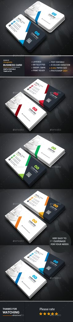 Corporate Business Card Design - Business Cards Print Template PSD. Download here: https://graphicriver.net/item/corporate-business-card/16935435?s_rank=17&ref=yinkira