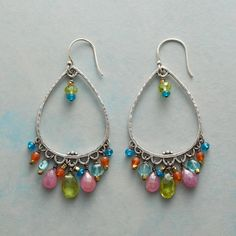 "ARIETTA EARRINGS -- Dangling from scalloped sterling teardrops, peridot, apatite, carnelian and pink sapphire shimmer like music. Sterling silver wires. Exclusive. 2-1/2""L."