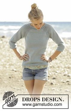Wind Down jumper with lace raglan worked top down by DROPS Design Free Knitting . Wind Down jumper with lace raglan worked top down by DROPS Design Free Knitting Pattern Jumper Patterns, Sweater Knitting Patterns, Knitting Designs, Knit Patterns, Knitting Projects, Knit Jumper Pattern, Sweaters Knitted, Drops Patterns, Sewing Patterns