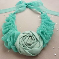 Two PATTERN: Elegance  Aqua  Rolled Flower &  Ruffles Necklace Tutorial - Instructions - Patterns - How to - PDF  - DIY - ebook