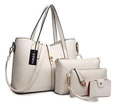 Tibes Fête des mères fête des mères PU cuir sac à main + épaule de sac de femmes de la mode + porte-monnaie + carte 4pcs mis: PU en cuir de…